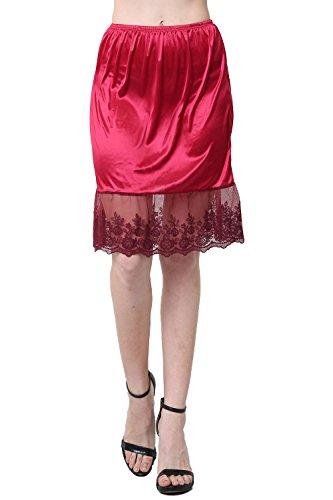 Women Single lace Satin Underskirt Half Slip Skirt Extender - 21