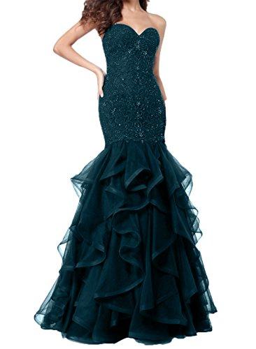 2018 Damen Herzausschnitt Neu Abendkleider Charmant Blau Lang Abschlussballkleider Navy Meerjungfrau Ballkleider 15dqSWWtw