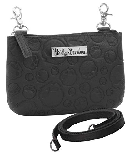 Harley-Davidson Women's Embossed Willie G Skull Hip Bag w/ Strap ZWL1851-BLACK (Purses Harley)