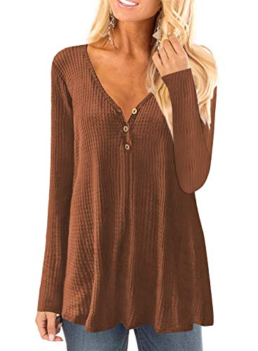 (Womens Waffle Knit Long Sleeve Henley Shirts Tunic Loose Fit Plain Blouse Tops(M-3XL) (M, Coffee))