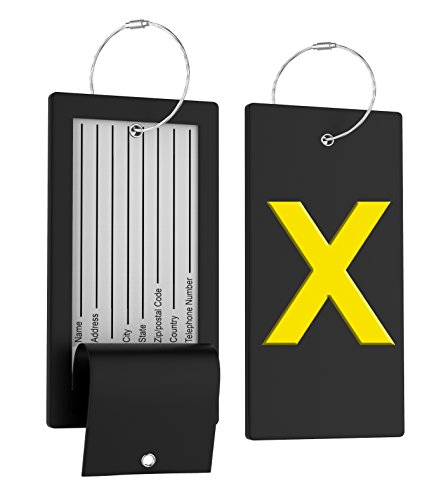 Tags Steel Stainless Luggage (Luggage Tag Initial Bag Tag - Fully Bendable Tag w/Stainless Steel Loop)