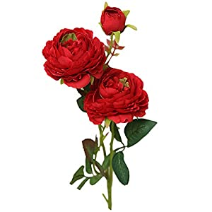Yamart Artificial Flowers, Fake Flowers Silk Plastic Artificial Roses 18 Heads Bridal Wedding Bouquet for Home Garden Party Wedding Decoration 89