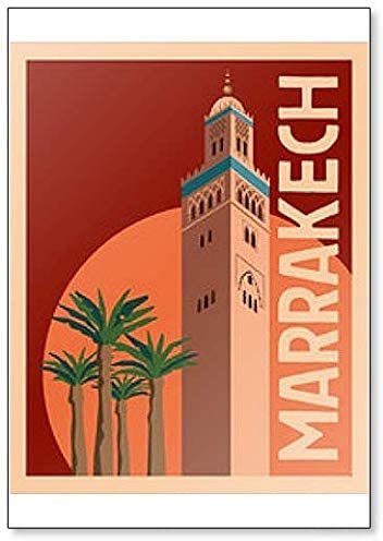 Old Tower and Palm Trees Against The Sunset Sky Fridge Magnet Tourist Illustration of Marrakech