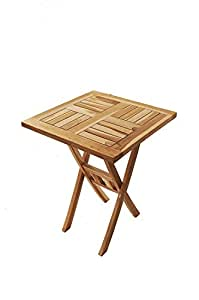 möbilia ® Mesa de madera maciza, Mesa de jardín, mesa Balcón, 60–60x 76cm, plegable, ideal para su Balcón, Jardín o Terraza, mesa de madera de teca