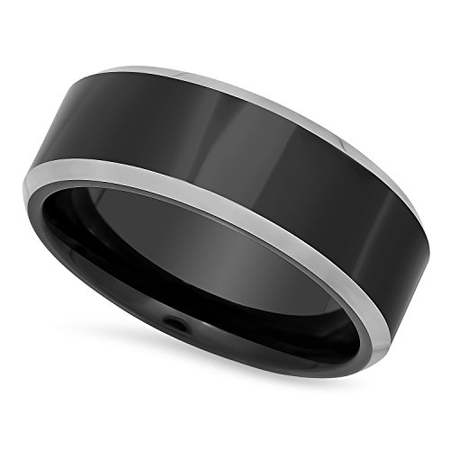 Men's Two-Tone Cobalt & Black Plated 7mm - Pewter Wedding Rings Shopping Results