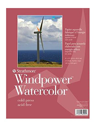 Strathmore STR-640-9 15 Sheet Wind Power Watercolor Pad, 9 by - Windmill Watercolor