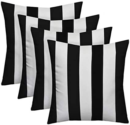Resort Spa Home Decor Set of 4 Indoor/Outdoor Square Decorative Throw/Toss Pillows Black and White Stripe Fabric Choose Size 17″ x 17″