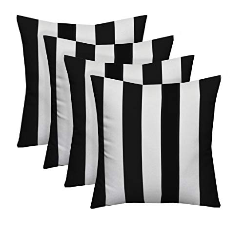 (Resort Spa Home Decor Set of 4 Indoor/Outdoor Square Decorative Throw/Toss Pillows Black and White Stripe Fabric Choose Size (17