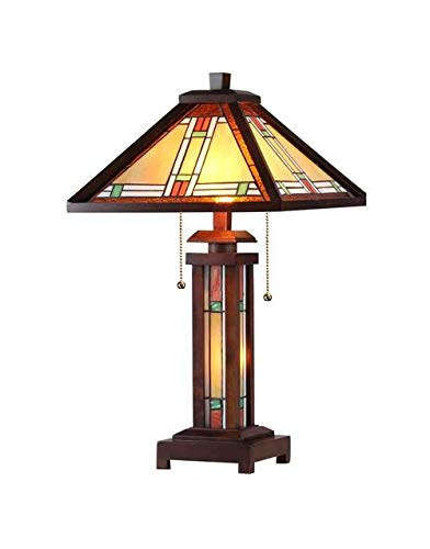 Leaded Lamp Glass - Chloe Lighting CH33426WM15-DT3 Aaron Tiffany-Style Mission 3-Light Double Lit Wooden Table Lamp, 25.6 x 15 x 15