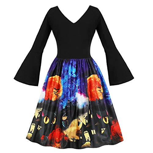 Forthery-Women Medieval Dress, Medieval Flare Sleeve Dress Renaissance Cosplay Maxi Dress Plus Size ()