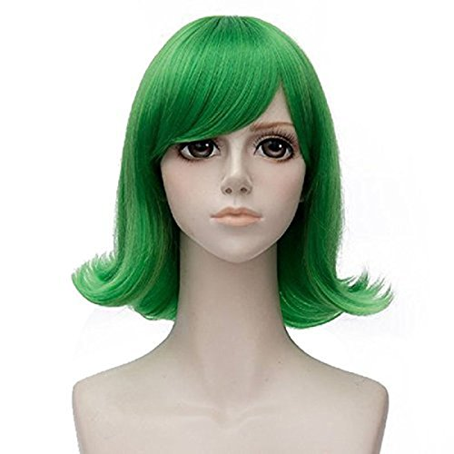 Halloween Costumes With Short Hair (Anogol Hair Cap+Short Wavy Cosplay Wig Green Hair Costume Halloween)