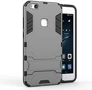 Huawei P10 Lite -Shockproof Kickstand TPU Hybrid Back Case Cover -Grey