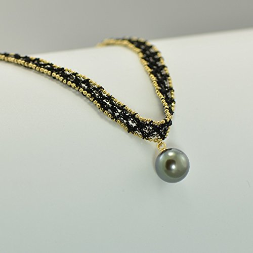 10MM Cultured Tahitian Pearl Choker Necklace Black Lace for Cocktail Dress