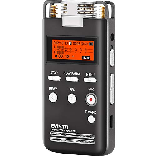 EVISTR Digital Voice Recorder 8GB L53 - 1536KPBS PCM Stereo Audio Recording Device Portable Dictaphone Microphone Gain Controllable Noise Reduction (Best Portable Field Recorder)