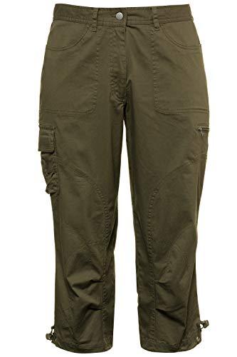 Ulla Popken Women's Plus Size Comfort Fit Cropped Cargo Pants Dark Olive 20 715820 44
