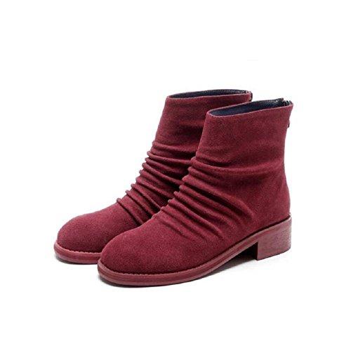 Casual di Stivaletto di basso cranio Fold grande scarpe donne e 38 più nabuk 38 stivali Martin pelle in RED red Vintage Patch velluto Tondo testa xpIwqZ68wH
