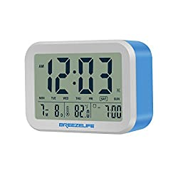 Breezelife Alarm Clock with big display time temperature date talking bell 12/24-hour digital travel clock