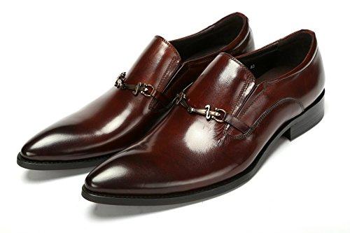 GRRONG Zapatos De Cuero De Los Hombres Del Ocio Del Negocio Del Vestido Formal Del Banquete Negro Y Marrón Brown