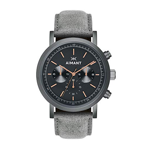 AIMANT Men's Watch Tokyo Gun Metal with Grey Leather Band GTO-220L8-18