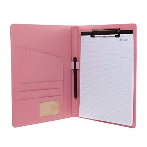 First Street Leather - Geila PU Leather Resume Storage Clipboard Folder Portfolio Padfolio for Business School Office Conference (Pink)
