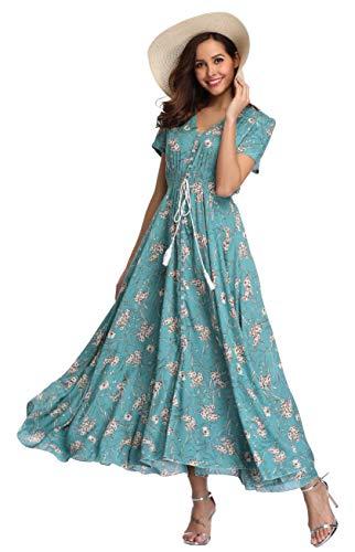 VintageClothing Women's Floral Print Maxi Dresses Boho Button Up Split Beach Party Dress, Blue Turqouise, L