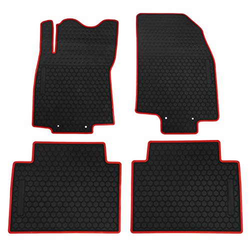 (biosp Car Floor Mats for Nissan Rogue 2014-2019 Front And Rear 2 Row Seats Heavy Duty Rubber Liner Black Red Vehicle Carpet Custom Fit-All Weather Guard Odorless)