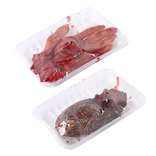 Sweet Devil Scary Bloody Broken Fake Body Parts Halloween Props Decorations,Plate
