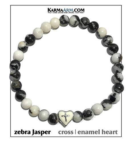 - KarmaArm Spiritual Cross | Heart Bracelet | Faith & Love | Mantra Meditation Wristband | Reiki Healing Energy Bead Zen Self-Care Yoga Prayer Jewelry | Zebra Jasper (7)