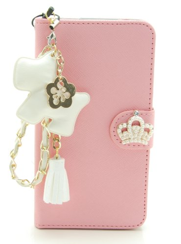 ZZYBIA® S5 TCD Leatherette Stand Case Card Holder Wallet with a White Dog Fringed Dust Plug Charm for Samsung Galaxy S5 I9600 (Pink)