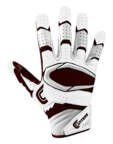 Glove Cutters Football Receiver (Cutters Gloves Rev Pro 2.0 Receiver Football Gloves, White/Maroon, Small)