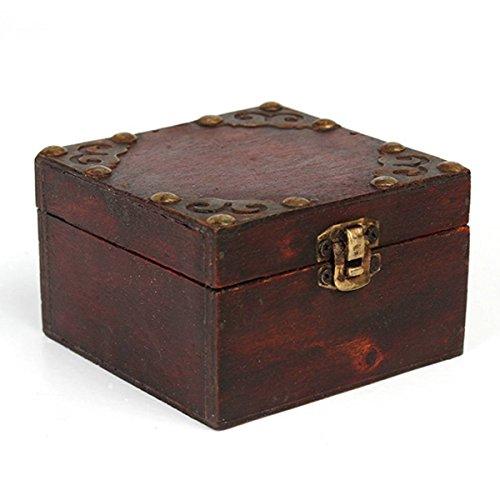 Charminer 9.8*9.8*6cm Big Vintage Wooden Jewelry Gift Box Storage Oraganizer Case Metal Lock Holder