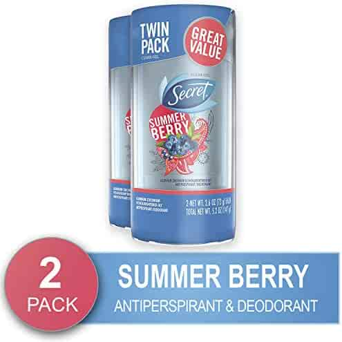 Secret Antiperspirant and Deodorant for Women, Fresh Clear Gel, Summer Berry Scent, 2.6 Ounce (Pack of 2)