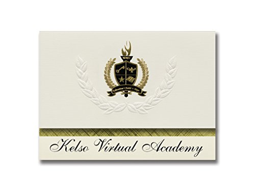 Signature Announcements Kelso Virtual Academy (Kelso, WA) Graduation Announcements, Presidential style, Elite package of 25 with Gold & Black Metallic Foil seal