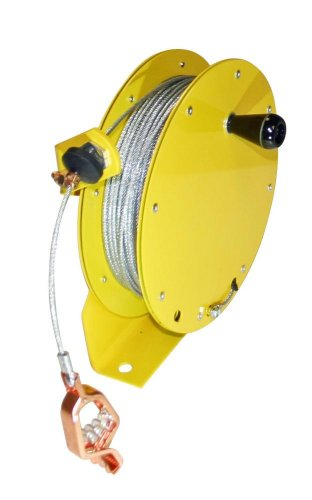 Lind Equipment ML2930-MC150 Heavy Duty Static Grounding Reel, Manual-Rewind, 150ft, Clear-Coated Plated Steel Cable, LE-21C Alligator Clip