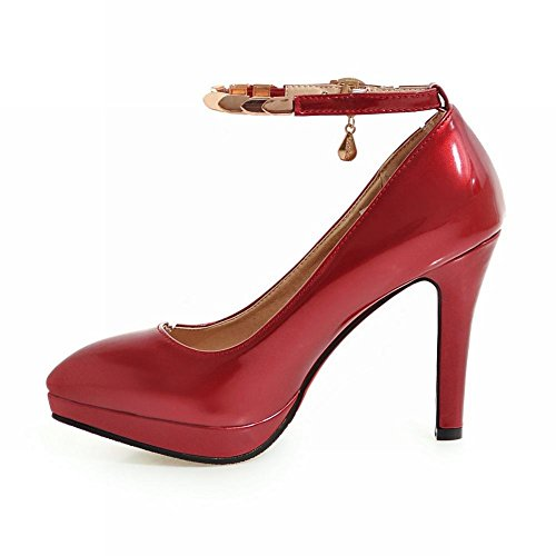 Latasa Mujer's Pointed-toe High Heels Tobillo-correa Bombas Rojo