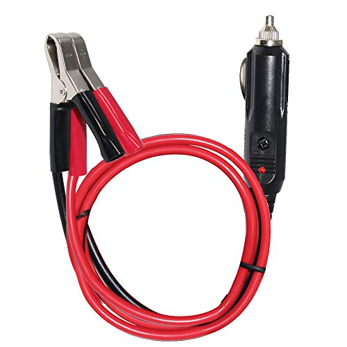 SPARKING 3FT Car Cigarette Lighter Male Plug Cable Adapter with LED Lights Male Plug to Alligator Clips Clamp Car Battery Clip-on Extension Cable,10A Fuse