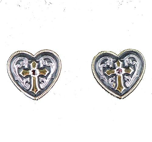 Western bling horse lover jewelry rhinestone cross heart post earrings