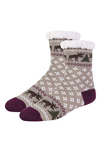 (Women's Sherpa Lined Cozy Thermal Non-Skid Socks (9-11,)