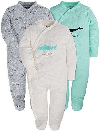 Baby 3-Pack Footed Pajamas Boys Girls Long Sleeve 100% Cotton Button Front Neutral and Side Snap - Footed Front Sleeper Snap