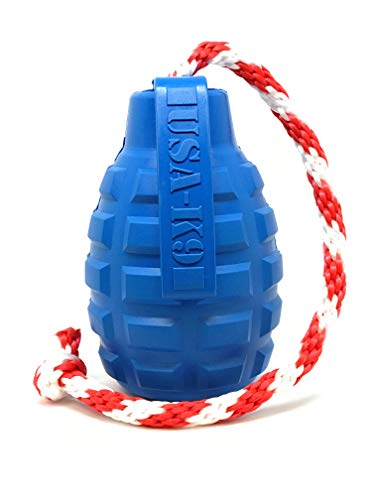 SodaPup USA-K9 Natural Rubber Grenade Shaped Chew Toy - Treat Dispenser - Slow Feeder - Average Chewers - Blue - -