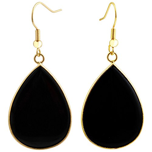 SUNYIK Women's Black Agate Teardrop Hook Dangle Earrings
