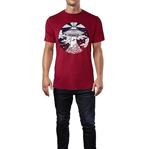 SINUS ART ® Ufo, das einen Menschen entführt Herren T-Shirts in Independence Rot Fun Shirt mit tollen Aufdruck