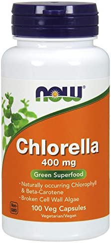 NOW Supplements, Chlorella 400 mg with naturally occurring Chlorophyll, Beta-Carotene, mixed Carotenoids, Vitamin C, Iron and Protein, 100 Veg Capsules