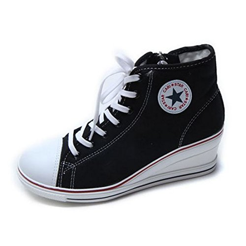 EpicStep Women's Black Canvas Shoes High Tops Zip Lace Up Fashion Sneakers Platform Wedges 8 M US