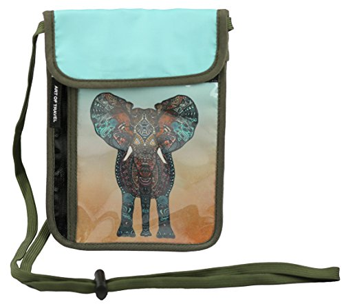 RFID Safe Hidden Travel Passport Neck Wallet by ART OF TRAVEL - A Partnership with Artists Around the World - Design by Monika Strigel (Germany) - Elephant (Case Passport Multi Currency)