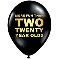 White Rabbits Design More Fun Thank Two Twenty Year Olds 40th Birthday Party Balloons, Set of 3, Funny 40th Birthday Decoration, 40th Gag Gift, 40th Party Decor