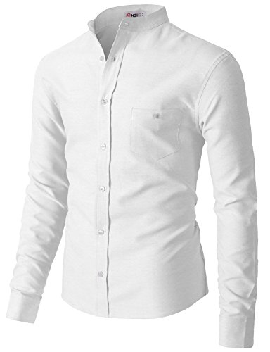 H2H Mens Premium Casual Inner Contrast Dress Shirt White US XL/Asia 2XL (KMTSTL0552)