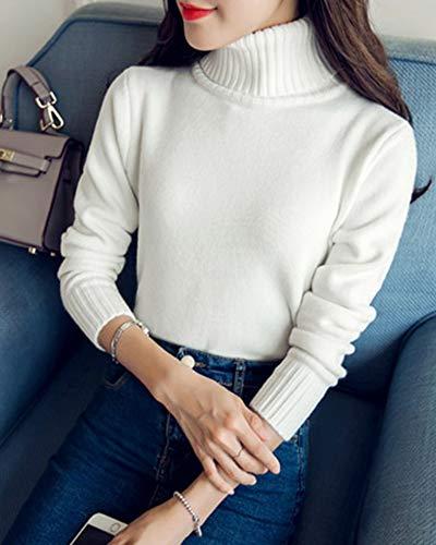 Bianco Vintage Pullover Alto Dianshaoa Lunghe Casual Donna Collo Elegante Dolcevita Maglieria Maglione nwPnqOYtx4