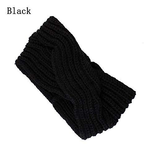 New Warm Women Crochet Hair Band Girls Knitted Headband Cross Twist Turban Wide (Color - Black)