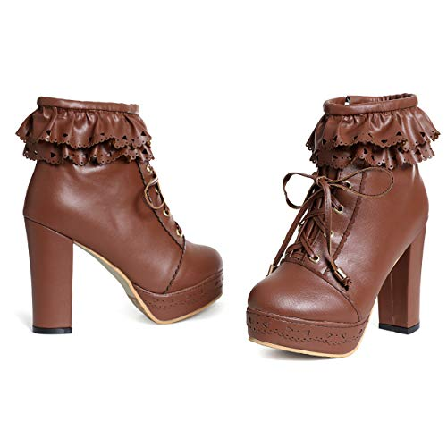 - Susanny Womens Office Party Sweet Lolita Platform Chunky High Heel PU Lace up Brown Ankle Boots 11 B (M) US